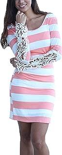 Hibluco Women's Long Sleeve Striped Crochet Lace V Back Bodycon Sexy Dress