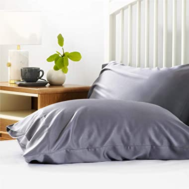 Bedsure Bamboo Pillow Cases Queen Size Set of 2 - Grey Cooling Pillowcases 2 Pack with Envelope Closure, Cool and Breathable