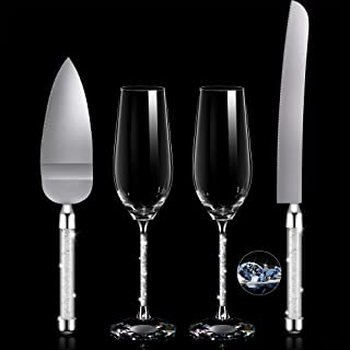 4 Piece Wedding Toasting Flutes and Cake Server Set Wedding Reception Supplies Champagne Glasses Cake Knife Pie Server