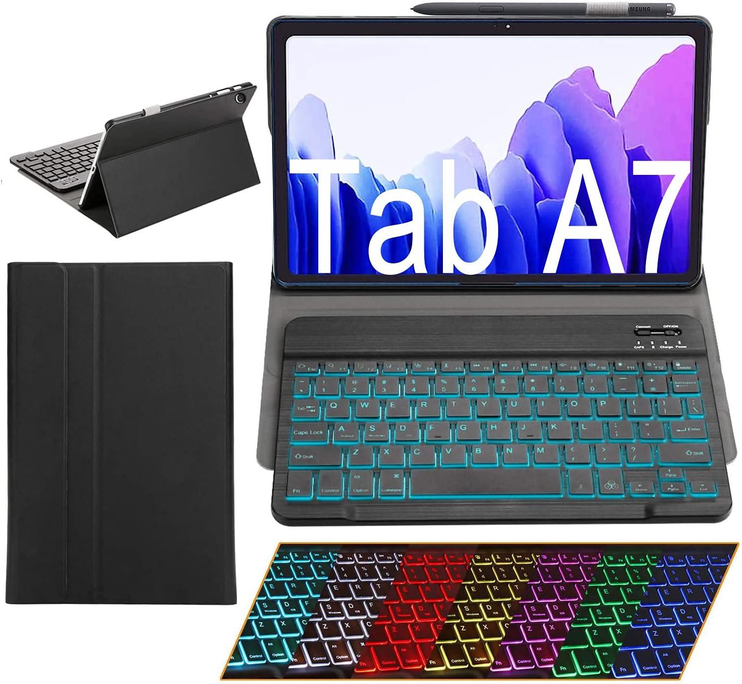 Samsung Galaxy Tab A7 Case with Keyboard Ultra-Thin PU Leather Slim Folio Stand Cover Removable Wireless Bluetooth Backlit Keyboard for 2020 Galaxy Tab A7 10.4