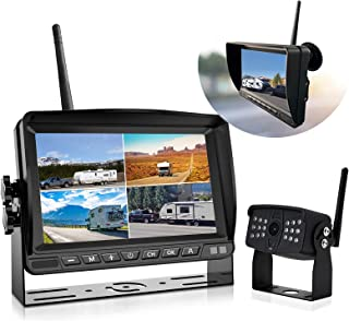 Wireless Backup Camera,DOUXURY 1080P RV Backup Camera Wireless with 7'' DVR 4 Split Screen Monitor Rear Observation System for RV,Trailer,5th Wheels,Truck, IP69 Waterproof, Night Vision, Stable Signal