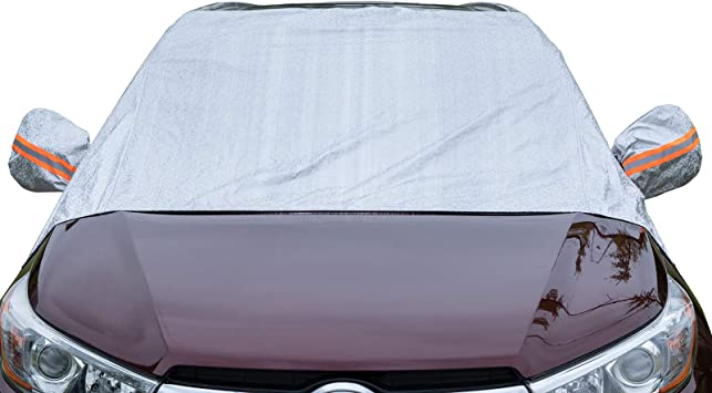 Universal Fit Windshield Sun Shade for Cars, Compact and Mid-Size SUVs, Anti-Theft Tuck-in Flaps, Cotton Lined PEVA Fabric with Aluminum Foil Lamination, Mirror Covers Included, Patent Pending: image