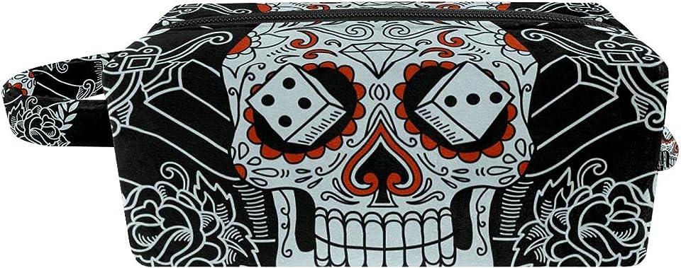 Travel Toiletry Bag Leather, Dopp Kit Shaving Bag Toiletry Organizer Muerte Skull 8.2x3.1x3.5 in