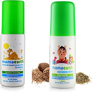 Mamaearth Baby Mineral Based Sunscreen (100 ml) and Easy Tummy Roll on for Digestion, Colic Relief with Hing and Fennel Co...