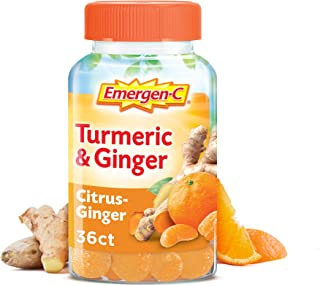 Emergen-C Citrus-Ginger Gummies, Turmeric and Ginger, Immune Support Natural Flavors with High Potency Vitamin, Turmeric, Ginger, 36 Count