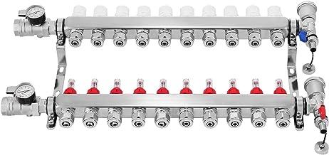 Mophorn PEX Manifold 10 Loop 1/2Inch PEX Radiant Floor Heating Set Stainless Steel Radiant Heat Manifold Automatic Air Vent (10 Loop)