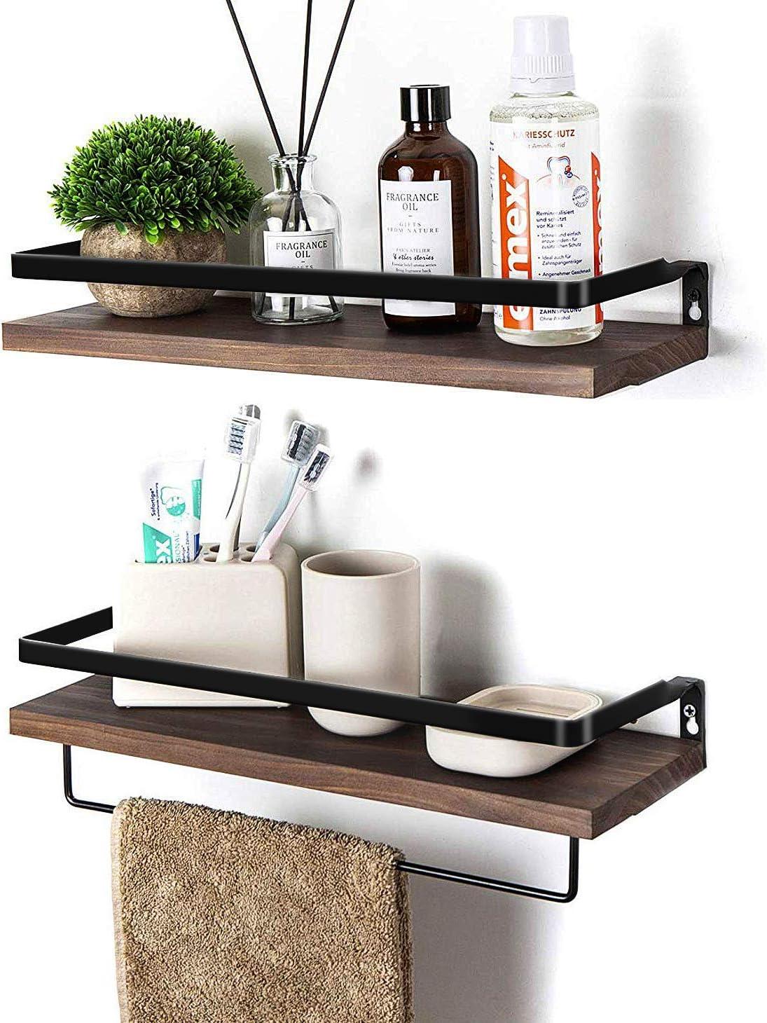 Amazon Com Soduku Floating Shelves Wall Mounted Storage Shelves For Kitchen Bathroom Set Of 2 Brown Kitchen Dining