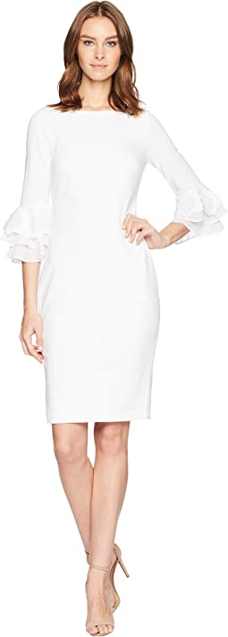 Lace Chiffon Detail Bell Sleeve Sheath Dress CD8C14JY