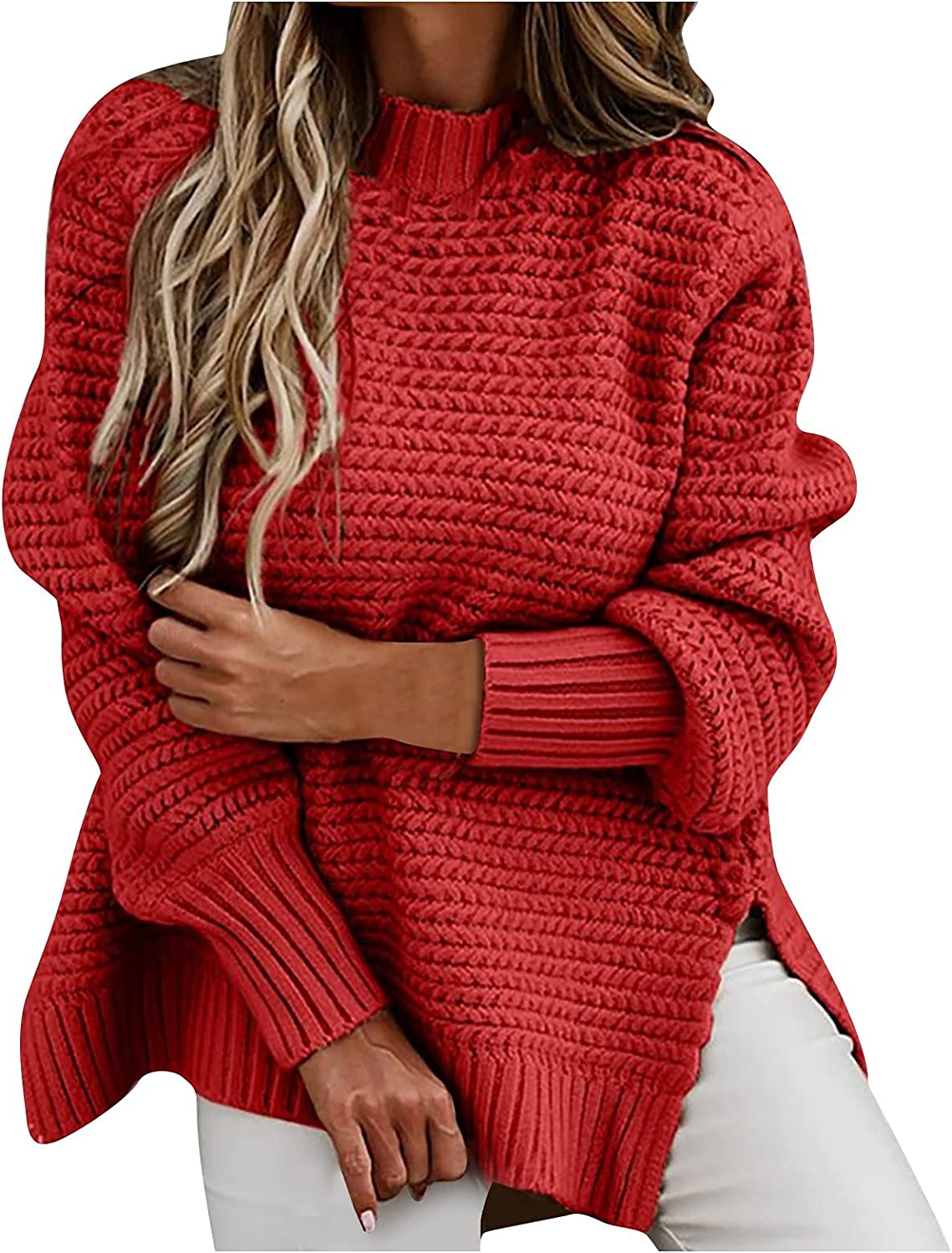 Womens Half High Collar Sweaters Daily Simple Long Sleeve V Neck Casual Loose Sweater Bloues