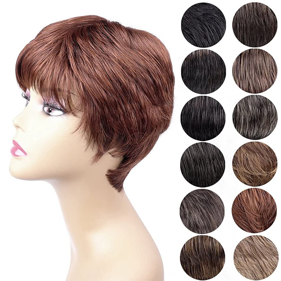 Ty.Hermenlisa Short Women Wigs-Anne, Human Hair Mixed with Heat Resistant Fiber, 81g, Copper Red-M.Auburn