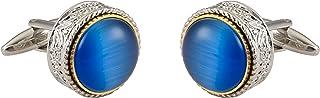 أزرار أكمام فضية للرجال من Knighthood منقوشة فضية مع حجر أزرق تفاصيل أزرار أكمام قميص هدايا زفاف الأعمال مع صندوق هدايا