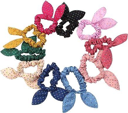 Sanwood 10Pcs Rabbit Ear Hair Tie Bands Style Ponytail Holder