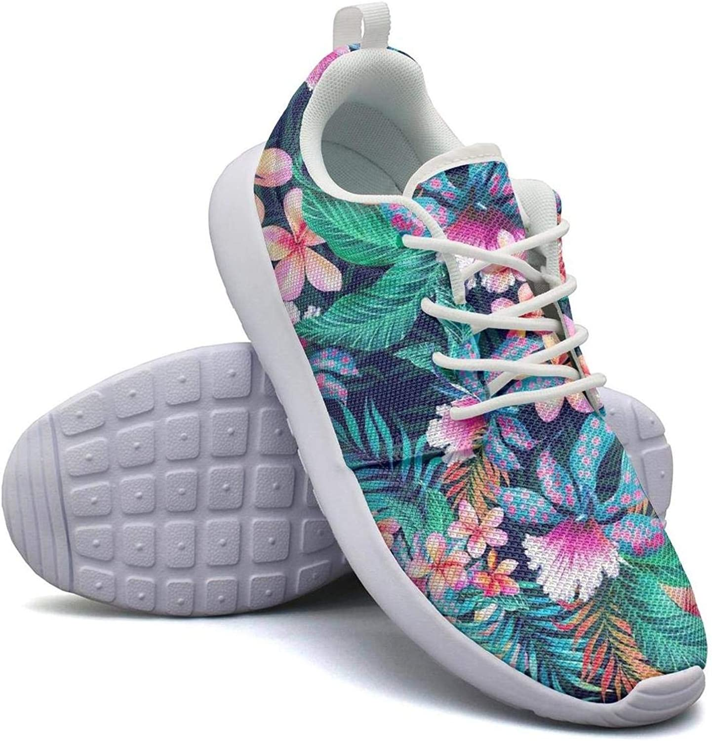 CHALi99 Womens Lightweight Mesh shoes colorful Tropical Leaves Watercolor Floral Pattern Sneakers Travel Lace-Up