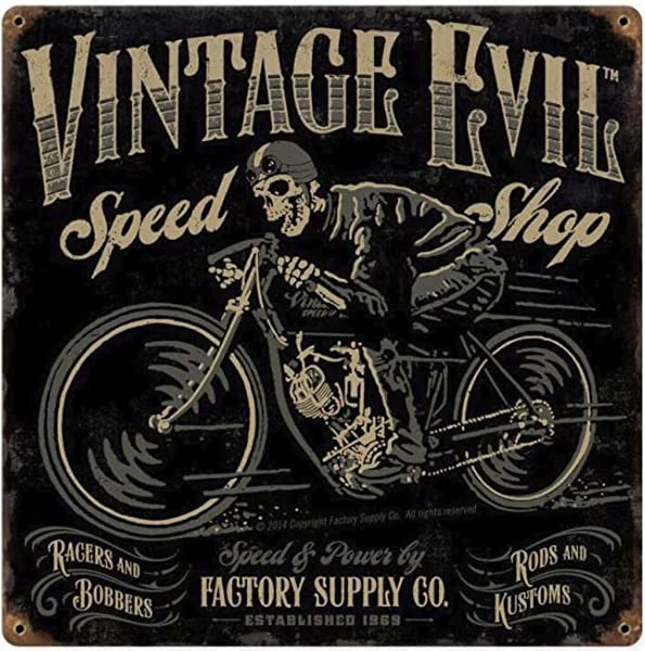 Fieanxi Evil Speed Shop Metal Tin Sign Wall Art Decor For Living Room Vintage Art Coffee Bar Signs Home Decor Gifts Decoration 12 X 12 Inches