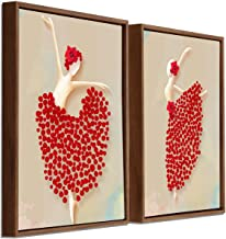 Art Street Red Floral Dancing Lady Framed Canvas Painting Set of 2 Wall Art Print-13x17 inch