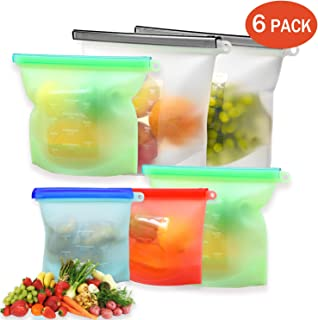 Reusable Silicone Bags Food Storage Freezer Thick Silicone Dishwasher Sandwich Bags Snake Containers Cooking Bag Sets for Fruits Vegetables Liquid 6 Pack