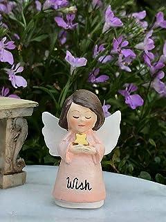 Faux Pearl Pendant; Guardian Charm Christmas Tree Angel; Peach Flower Fairy Garden Angel Mini Ornament Iridescent Acrylic Wings; #340