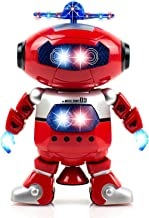Alagoo Electronic Toy Robot Walking Dancing Singing Robot with Musical and Colorful Flashing Lights 360° Body Spinning Robot Toy Gift for Kids, Boys, Girls (Red)