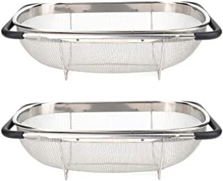 Suwimut 2 Pack Over the Sink Strainer Oval Colander for Kitchen, Fine Mesh Stainless Steel Strainer Basket with Expandable...