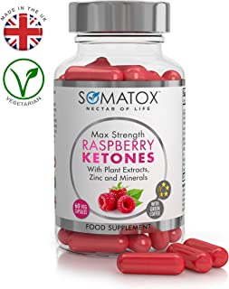 SOMATOX RASPBERRY KETONE Pure Whole Fruit - Natural Weight Loss • Burn Fat • Slimming Diet Pills • Appetite Suppressant ★ Max Strength 700mg / 60 Veg Caps ★ Made In UK (FREE eBOOK)