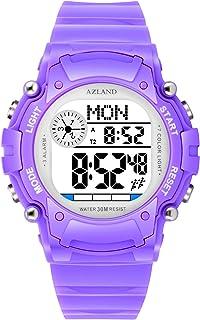 AZLAND 7 Colors Flashing, 3 Multiple Alarms Reminder Sports Kids Wristwatch Waterproof Boys Girls Digital Watches (Purple)