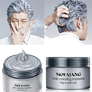 MOFAJANG Hair Color Wax Instant Silver Grey Hair Wax Temporary Hairstyle Cream 4.23 oz..