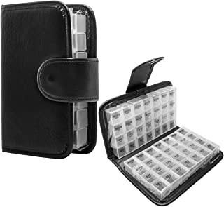 Simply Genius Black 14 Day Daily Pill Organizer, Portable Locking Travel Case Doses Dispenser, AM/PM, Day & Night, Weekly Pill Box Organizer Case