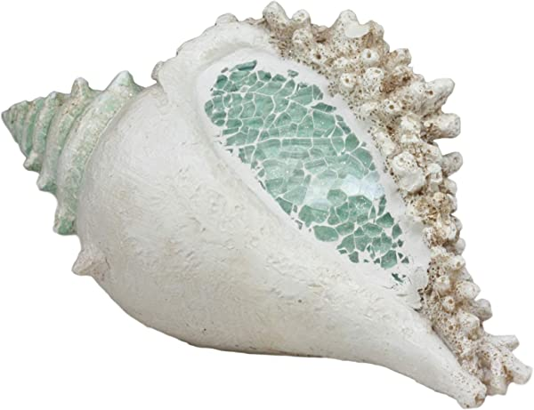 Ebros Large Ocean Sea Shell Conch Corals Statue With Mosaic Crushed Glass 7 Long Jumbo Seashells Themed Decor For Wedding Beach Party Home Decorations DIY Crafts Fish Tank Collectors