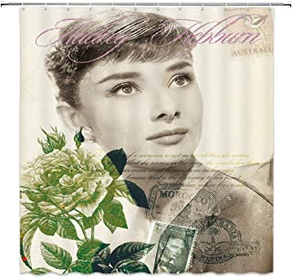 Vintage Audrey Hepburn Shower Curtain Pretty Girl Movie Star Woman Portrait Flower Stamp Decor Fabric Bathroom Curtains,Waterproof Polyester with Hooks 70x70 Inch