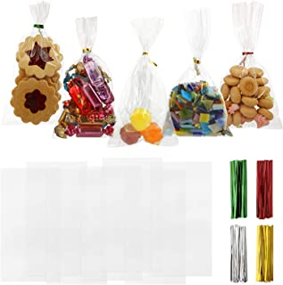 GWHOLE 120 PCS 9 x 17 cm Clear Cellophane Treat Bags with Assort Twist Ties Party Favor Sweet Bag for Bakery, Candle, Soa...