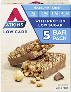 Atkins Chocolate Hazelnut Crisp Bars | Keto Friendly Bars | 5 x 37g Low Carb Chocolate Hazelnut Bars | Low Carb, Low Suga...