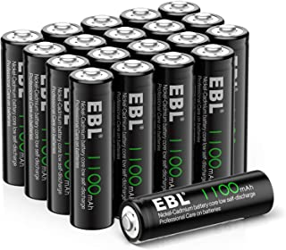EBL AA Rechargeable Batteries for Solar Lights Replacement, 1.2V 1100mAh High Performance..