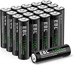 EBL AA Rechargeable Batteries for Solar Lights Replacement, 1.2V 1100mAh High Performance Ni-CD Battery(Pack of 20)