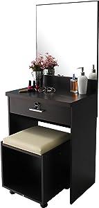 Mueble tocador con espejo, cerradura con llave, banco acolchado y cajón