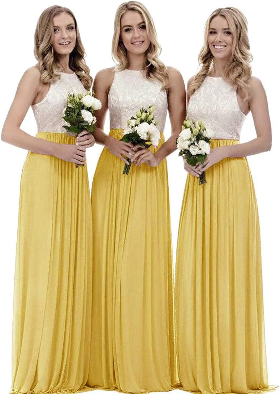 Women's A Line Top Lace Bodice Two Piece Chiffon Bridesmaid Dress Long Formal Evening Dress