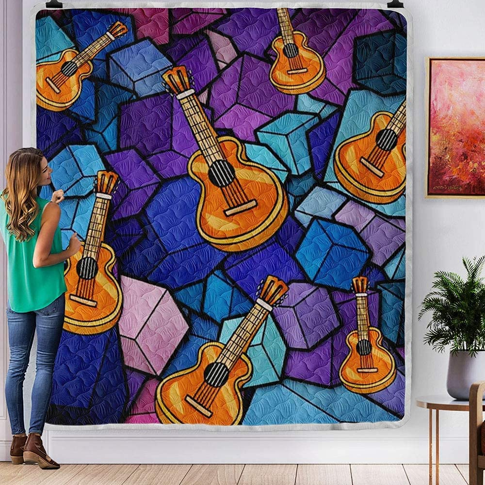 PITTI Guitar Cartoon Cubes Max 58% OFF Colorful Quilt Unique Gift Industry No. 1 Kids Girls