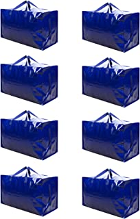 VENO Thick Over-Sized Organizer Storage Bag with Strong Handles and Zippers for Travelling, College Carrying, Moving, Camping, Christmas Decorations Storage, Made of Recycled Material (8 Packs)