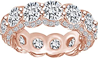 6 Carat (Ctw) Round Shape White Natural Diamond Eternity Engagement Wedding Band Ring in 14k Solid Gold