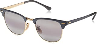 RB3716 Clubmaster Metal Square Sunglasses, Black On Matte...