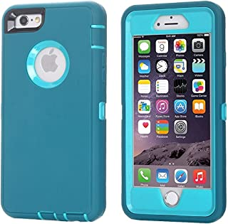 iPhone 6 Case, iPhone 6S Case [Heavy Duty] AICase Built-in Screen Protector Tough 3 in 1 Rugged Shockproof Cover for Apple iPhone 6/6S (Light Blue with Belt Clip)