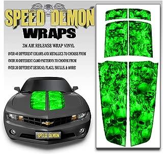 Speed Demon Hot Rod Shop LLC Camaro Racing Stripes Rally Stripes Burning Skull Image Green Skulls Black Pinstripe- Hood Trunk and Spoiler Graphics 2010-2015