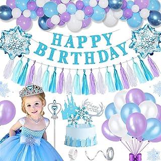 AYUQI Decoración de Cumpleaños para Niña,Globo Fiesta Banner de Globos de Feliz Cumpleaños Globo Decoración con Princesa Tiara / Corona + Cetro para Niña