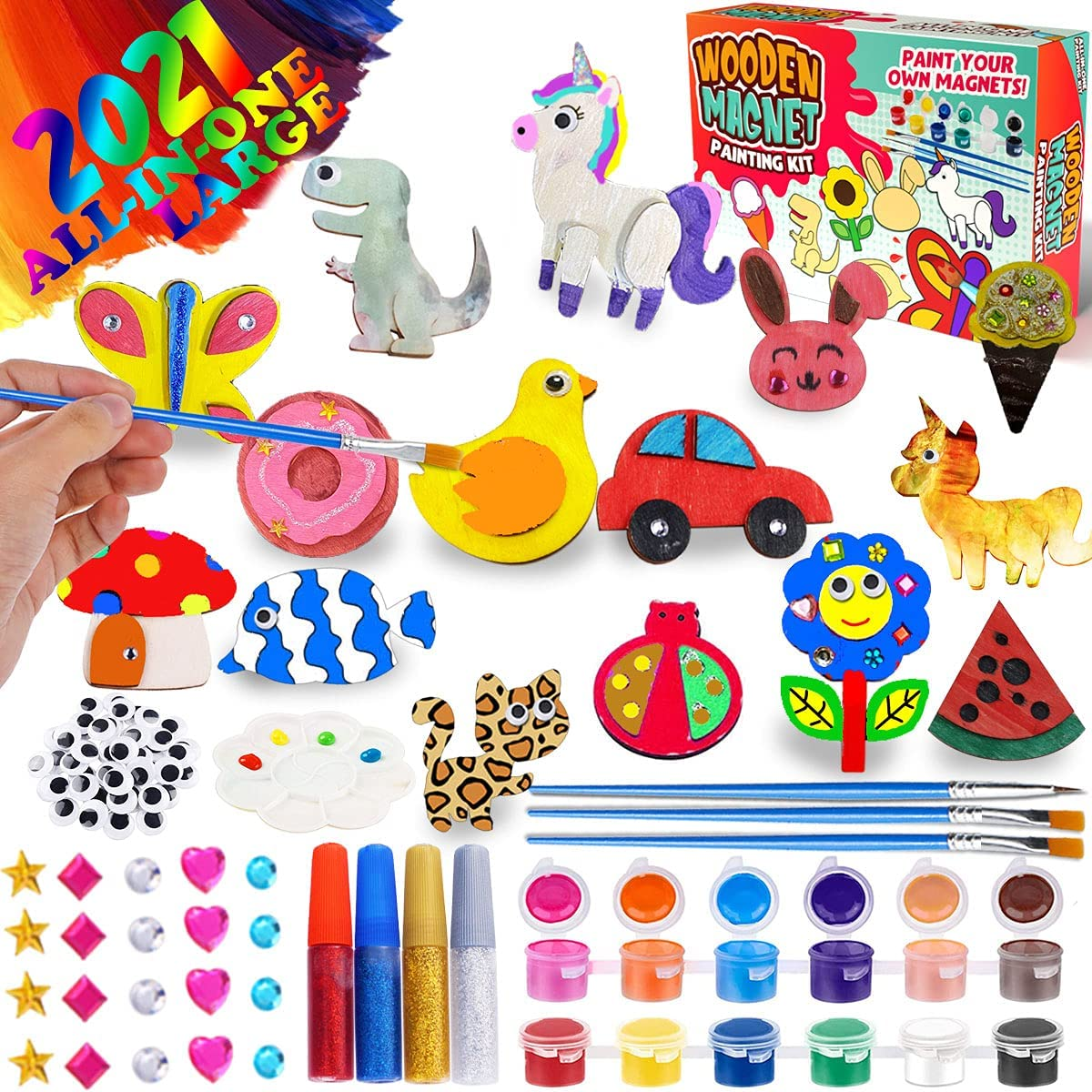 Goodyking Arts and Craft Painting Woden Magnet - Kids Wood Craft Painting Activities for Boys Girls Age 3 4 5 6 7 8-12 Years Old DIY School Family Creative Supplies Gift Decoration Home Decor