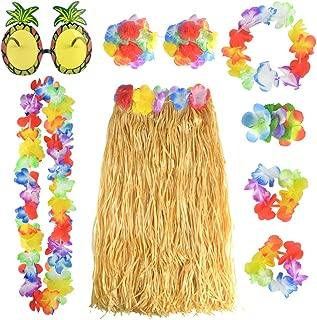 baotongle 8 Stück Hawaii Party Kostüm Set mit Halskette Armbänder Stirnband Blume BH Haarblume und Ananas Sonnenbrille für Beachparty Deko