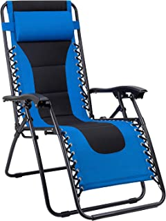 Devoko Patio Zero Gravity Chair Outdoor Oversize Padded Recliner Lounge Chair with Adjustable Headrest 300 lbs for Lawn Beach Poolside (Blue)