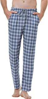 Aiboria Mens Pyjamas Bottoms Checked Long Lounge Pants Cotton Sleepwear Nightwear Pant for Gentlemen Soft Trousers Elastic...