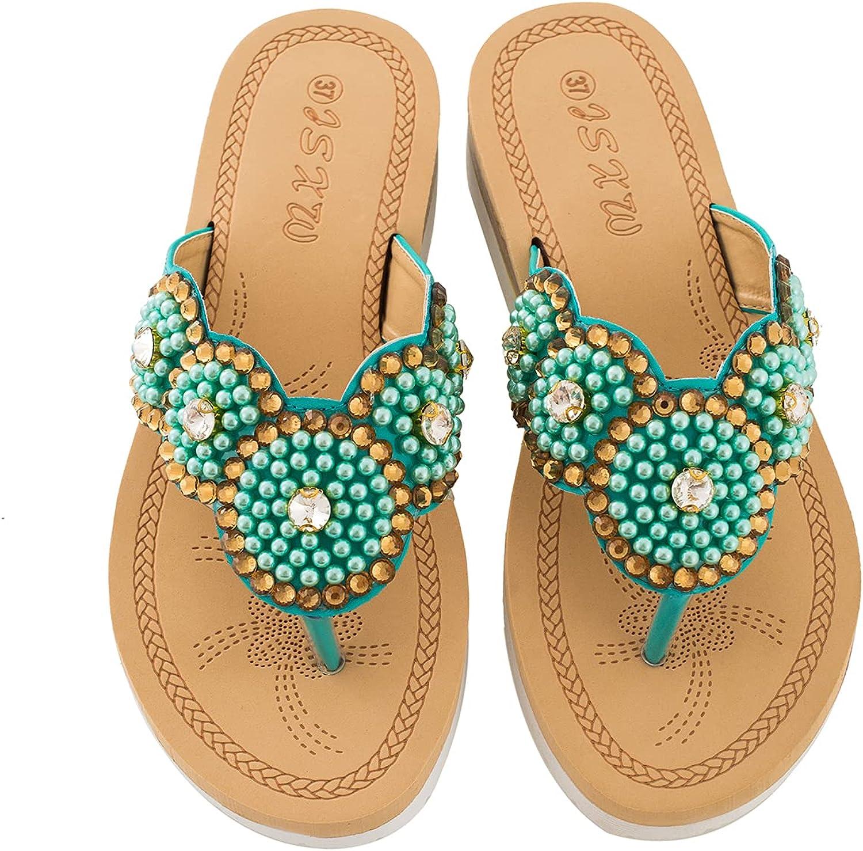 Solacozy Summer Women Casual Flower T-Strap Flats Flip Flops Slip On Sandals Slides Rhinestone Beaded Beach Outdoor Bohemian Thong Slippers