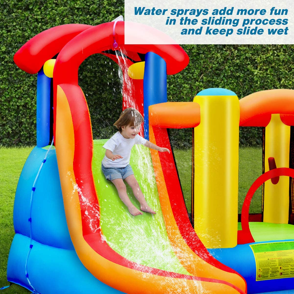 6 in 1 Water Slide Jumping Park w//Splashing Pool BOUNTECH Inflatable Bounce House Repair Kit Water Cannon with 740W Air Blower Stakes Including Carry Bag Climbing Wall Basketball Scoop Hose