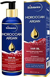 StBotanica Moroccan Argan Hair Oil (With Pure Argan, Jojoba, Almond, Castor, Olive, Avocado, Rosemary Oils), 200ml