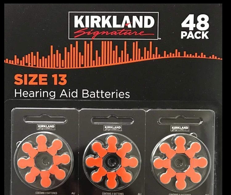 Amazon Com Kirkland Signature Premium Quality Hearing Aid Batteries 48 Pack 1 45 Volt Mercury Free Various Sizes Size 13 Health Personal Care